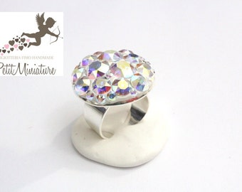 Ring AB Swarovski Crystal-Vintage-Valentine-adjustable 28mm-size
