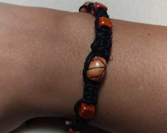 Orange and Black Hemp Bracelet