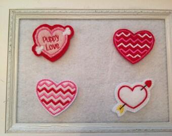 Valentine Felties, Four to choose from, Puppy Love, Chevron Hearts, Always Precut