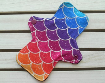 Reusable Panty Liner Rainbow Scales Print Cotton Jersey Bamboo Fleece Cloth Sanitary Pad