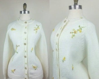 50s Embroidered Cardigan Sweater M/L