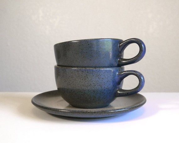 2 Vintage Heath Ceramics Coupe Tea Cups And A Saucer In