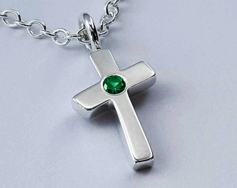Emerald Cross Necklace Pendant in Sterling Silver - Sterling Cross Necklace, Sterling Silver Cross Necklace, Sterling Silver Cross Pendant
