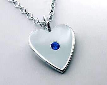 Blue Sapphire Heart Necklace Pendant - Sterling Silver Heart Necklace, Sterling Silver Heart Pendant, Blue Sapphire Heart Pendant