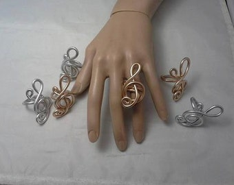 Treble Clef Ring, Gold Ring, Silver Ring, Wire Ring, Statement Ring,  Wire Wrapped Ring,  Wire Ring, Large Ring, Big Ring, Women's Ring,