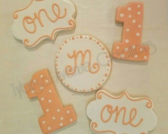 12 Peach and Ivory First Birthday Sugar Cookies - One Sugar Cookies - Number 1 Sugar Cookies - Initial and Age Peach & Ivory Sugar Cookies