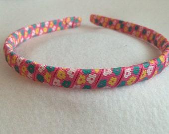 Flower Headband, Flower Ribbon Headband, Pink Headband, Ribbon Headband, Pink Flower Headband, White Flower Headband, Preppy Headband