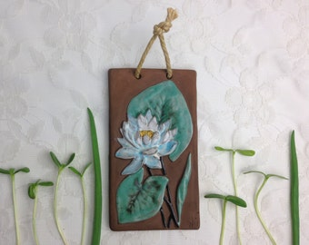 1960s wall Plaque by Nie / Retro ceramic tile by Ninnie Forsgren / Water lilly / Vintage Sweden