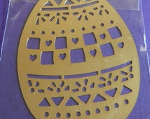 "Hearts Squares Triangles Egg Metal Embossing Stencil 2 1/4"" x 3 1/4"" Easter Spring Paper Crafts Altered Art Cards"