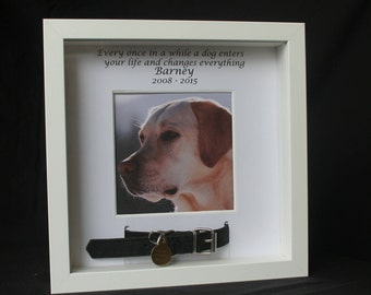personalised white photo frame for pet dog cat memorial bereavement remembrance