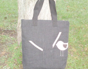 Bird canvas shoulder bag