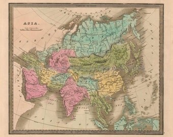 Asia Antique Map Greenleaf 1844 Original SKU:1844greenleaf-021