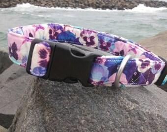 Violet Flower Dog Collar