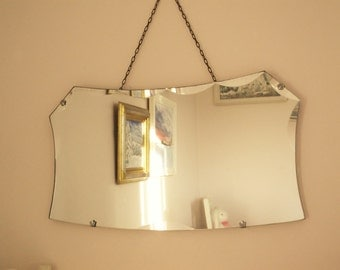 Antique Vintage 1930S Art Deco Mirror Art Deco mirror Antique frameless mirror Scalloped edge bevelled mirror French shabby chic Long chain
