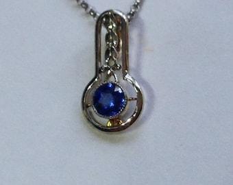 Art Deco Ceylon Sapphire 14KWG&YG Pendant Necklace