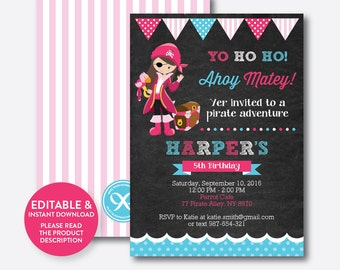 Instant Download, Editable Pirate Birthday Invitation, Pirate Invitation, Pirate Party Invitation, Pirate Girl Invitation,Chalkboard(CKB.42)