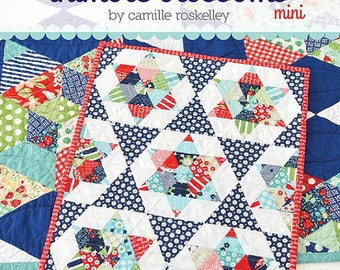 "Starlight mini quilt pattern by Camille Roskelley for Thimble Blossoms #182 Charm and Fat Quarter friendly 12"" by 15"""