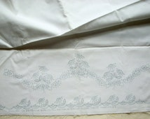 Vintage Bucilla Cotton Tubing for Two Pillowcases Stamped for Cutwork Embroidery, With Silver Blue Floss Pattern 2548