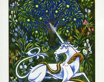 Unicorn and Snake lithograph