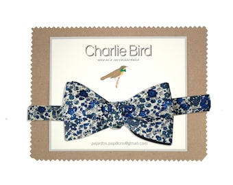 """Flowered Charlie Bird bow tie on Liberty """"Classic"""" blue"""