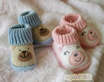 SALE **Stunning New Born Baby Reborn Pink Blue Cotton Bootee Slipper Shoes