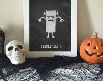 Frankenstein Halloween Art - Chalkboard Print, Chalkboard Halloween, Halloween Print, Halloween Decor, Cute Halloween, Halloween Party