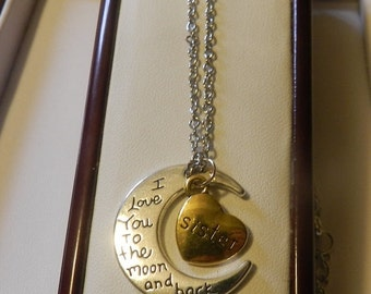 CIJ SALE Love you to the moon Sister Crescent Pendant V4555 ready to ship