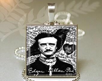 Valentine Sale Edgar Allen Poe Raven Evermore Square Necklace Keyring V1