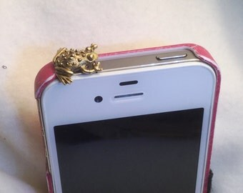 Pewter Frog, Cell Phone Dust Plug/Deco. Phone bling/accessory.  Cell phone dust plug.