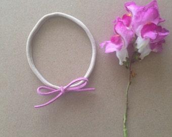 Single    Suede hand tied bows   Purple  