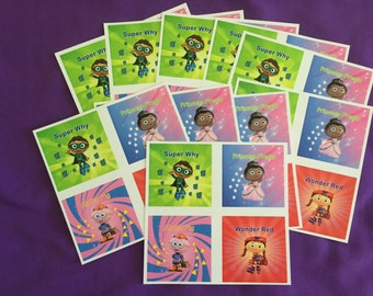 10 Super Why Sticker Sheets (4 stickers per sheet) Party favors