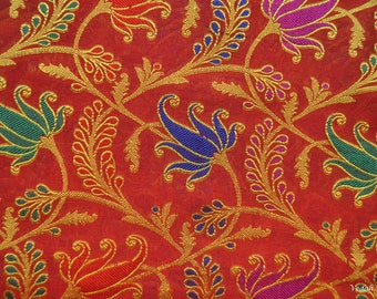 Unique red and gold chanderi silk Jacquard luxurious banaras brocade sold by the yard
