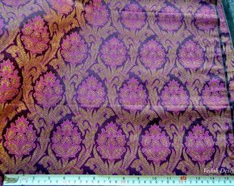 Plum Luxurious silk Jacquard fabric Handloom Zari Brocade fabric by the yard