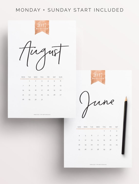 2017 Calendar Printable Calendar Rose Gold Calendar Monthly By IndigoPrintables