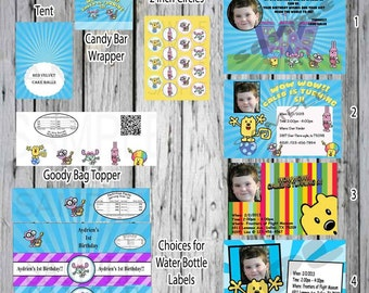 Wow Wow Wubbzy  Custom 6 pack Invitations and more! Water bottle labels, Thank you cards, Candy Bar Wrappers, 2 inch Cirles