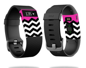 Skin Decal Wrap for Fitbit Blaze, Charge, Charge HR, Surge Watch cover sticker Hot Pink Chevron