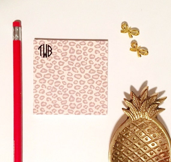 Animal print Sticky Notes, leopard print, Post It Notes, cheetah print, monogrammed notepad, Custom Notepad, monogrammed sticky note