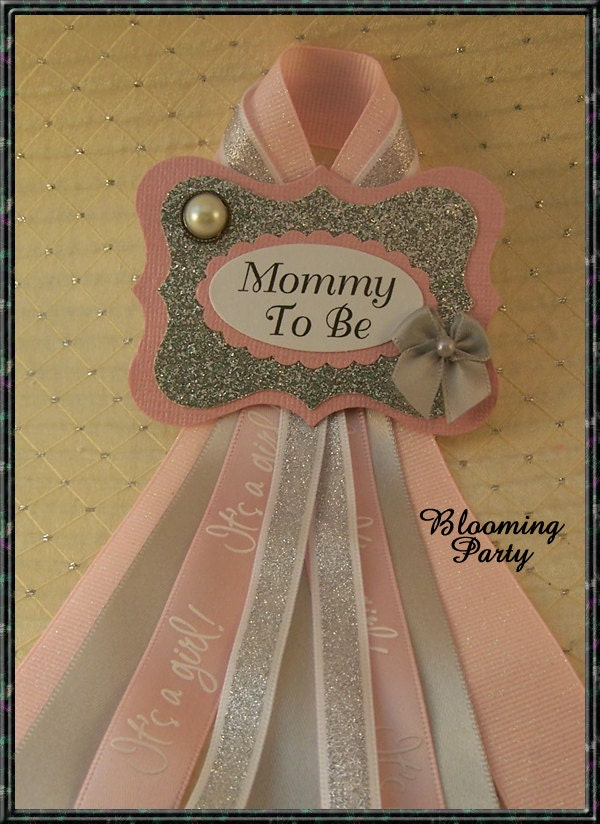 pink and silver mommy to be badge baby shower corsage pink and