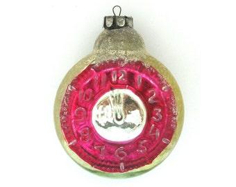 Big Glass Clock, Rare Soviet Christmas tree decoration, Glass Christmas ornament, New Year, Russian Toy, USSR, Soviet Union, 1960s