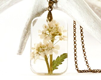 real flower necklace - real plant pendant - botanical jewelry - white flowers resin - garden inspired - clear pendant - boho - floral