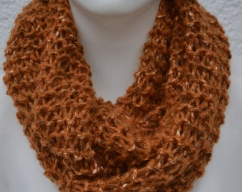 Loop hose scarf shawl ocher mustard gold knitted