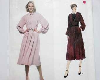 Albert Nipon Vogue American Designer 1984 ~ Long Sleeve Dress with Bodice and Skirt Front Pin Tucks & Belt SIZE 14 UNCUT Sewing Pattern