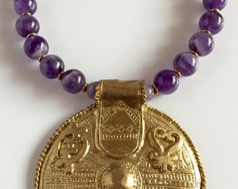Africa Inspired Amethyst Statement Necklace
