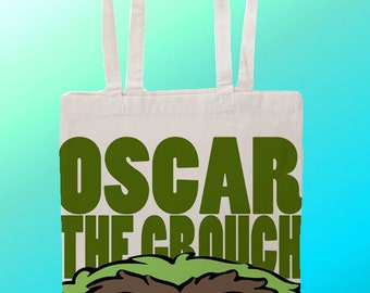 Oscar the grouch Sesame Street - Reuseable Shopping Cotton Canvas Tote Bag