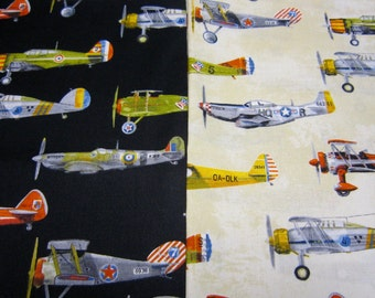 Vintage Airplane Cotton Fabric Set Designed by Phoenix Creative Co for Robert Kaufman Transportation Series