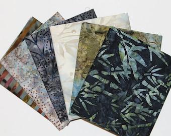 Batik Fat Quarter Bundle, Dark Blue Medley,  Fabric Destash, 6 Pc Bundle