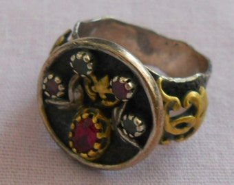 Vintage silver handmade Byzantine style ring