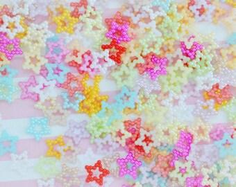 13mm Tiny Kawaii Pastel Pearl Star Decoden Cabochons - 100 piece set