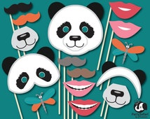 Panda Bear Printable Photo Booth Props | Panda Themed Photo Props | INSTANT DOWNLOAD | Party Safari By Candace