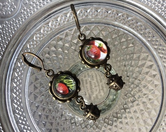 Strawberry earrings with ladybugs